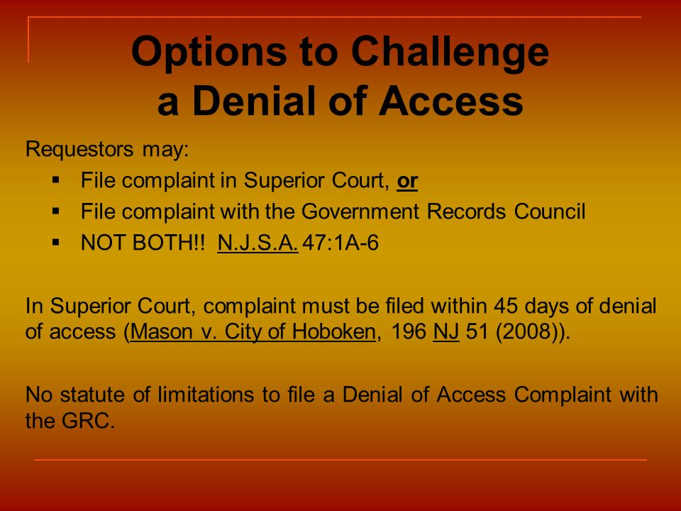 Options to Challenge a Denial of Access
