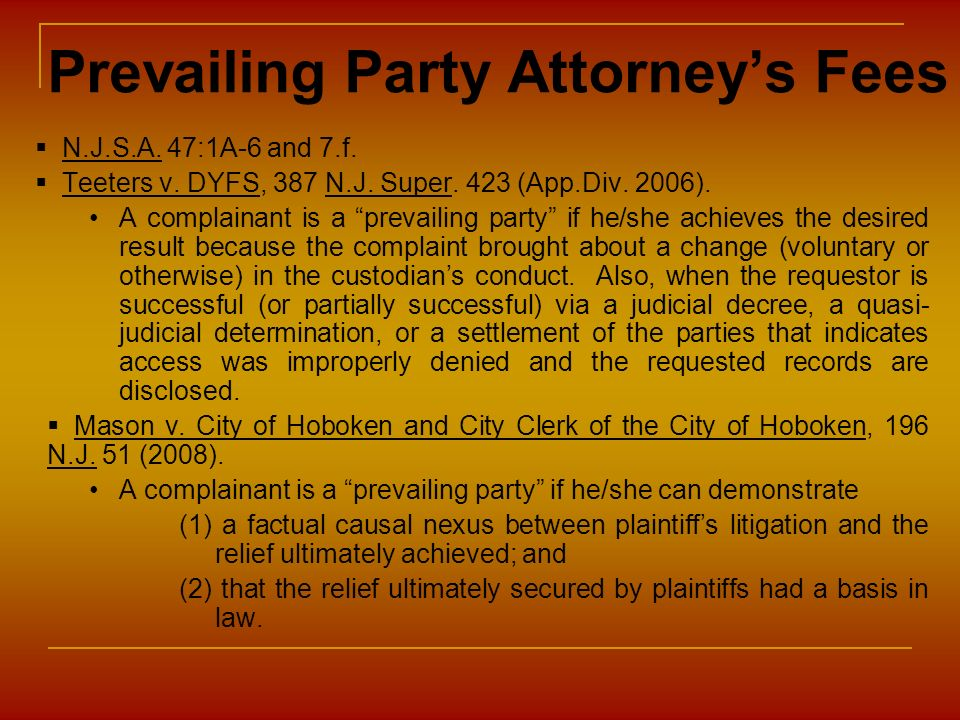 Prevailing Party Attorney's Fees