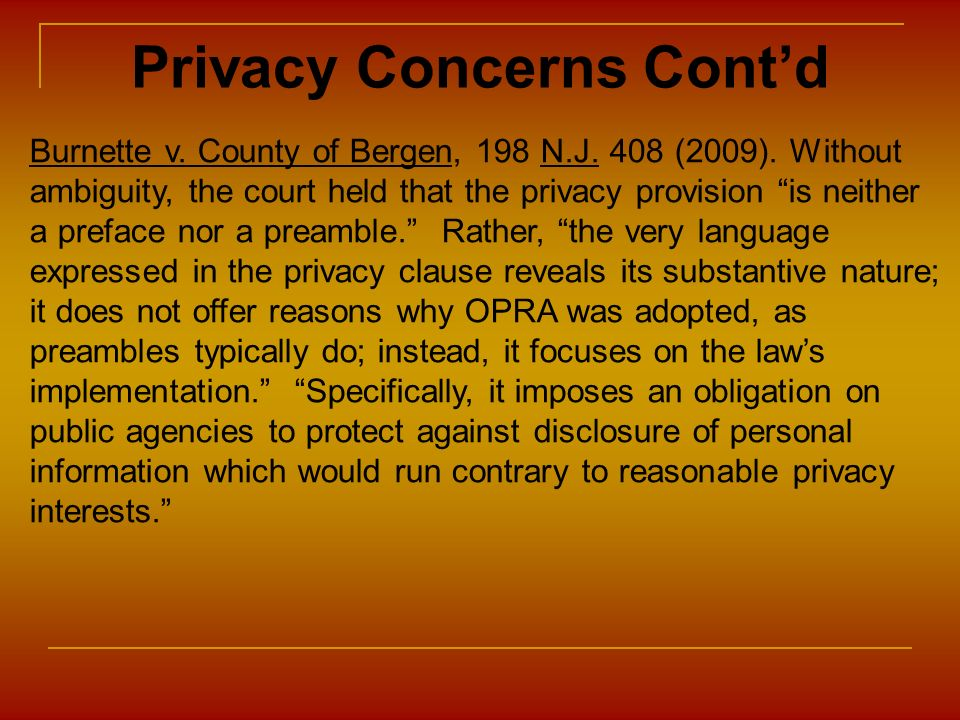 Privacy Concerns Cont'd