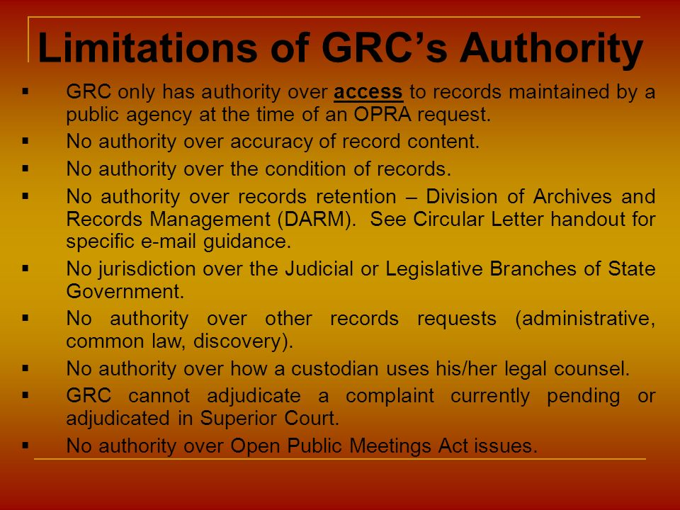 Limitations of GRC's Authority