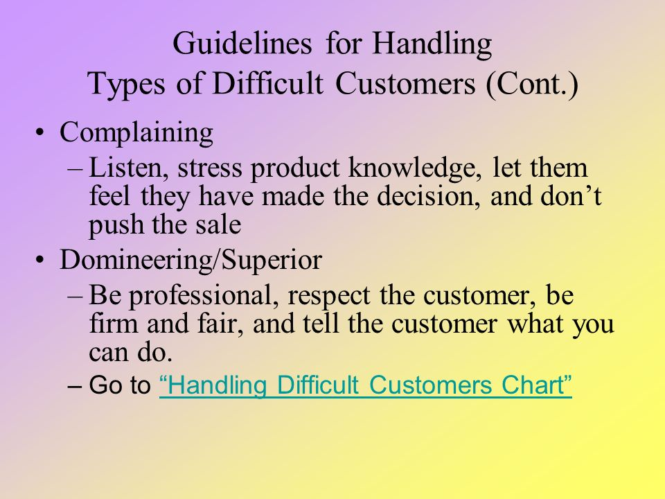guideline on handling customer Roles and responsibility – customer service management   provide team  members with guidance in handling difficult or complex issues or problems so.