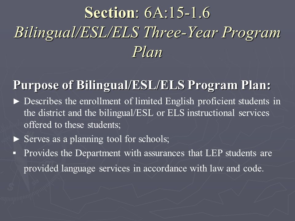 Section: 6A:15-1.6 Bilingual/ESL/ELS Three-Year Program Plan
