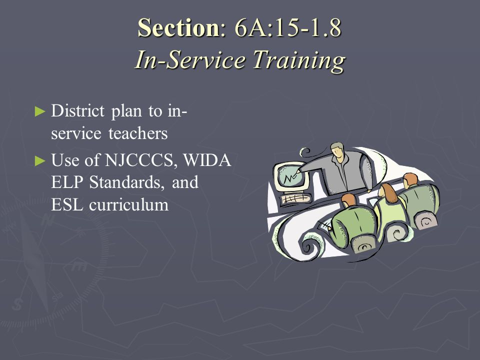 Section: 6A:15-1.8 In-Service Training
