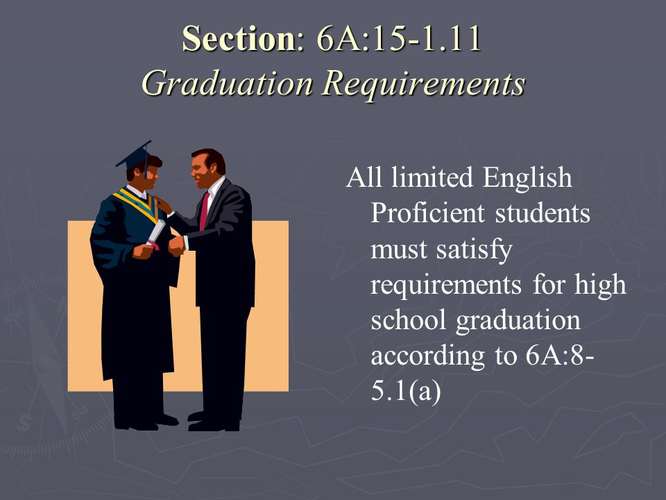 Section: 6A:15-1.11 Graduation Requirements