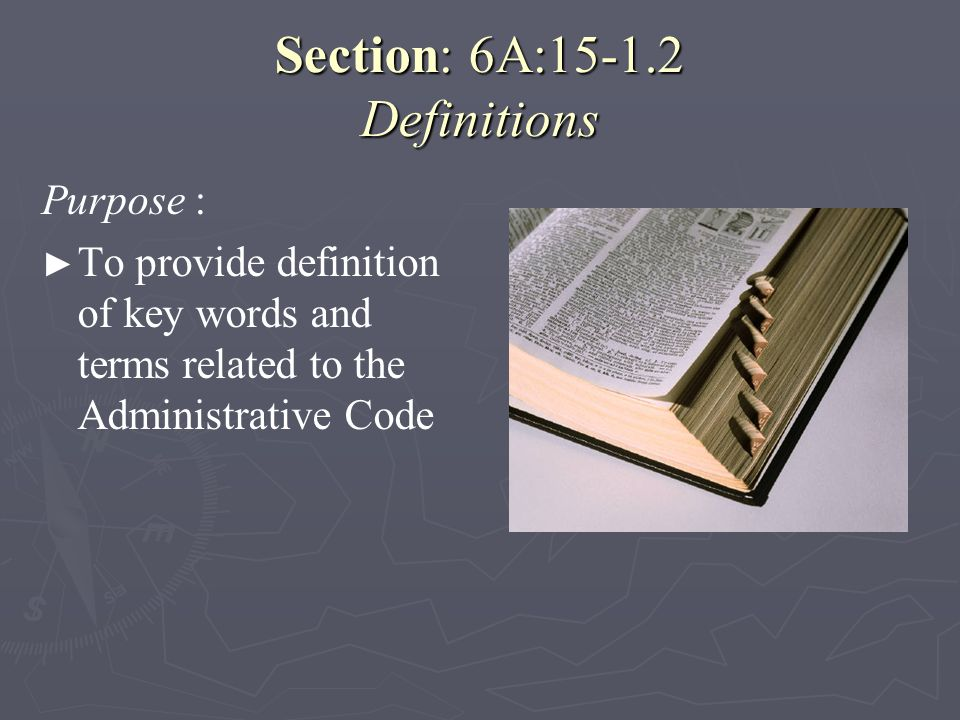 Section: 6A:15-1.2 Definitions