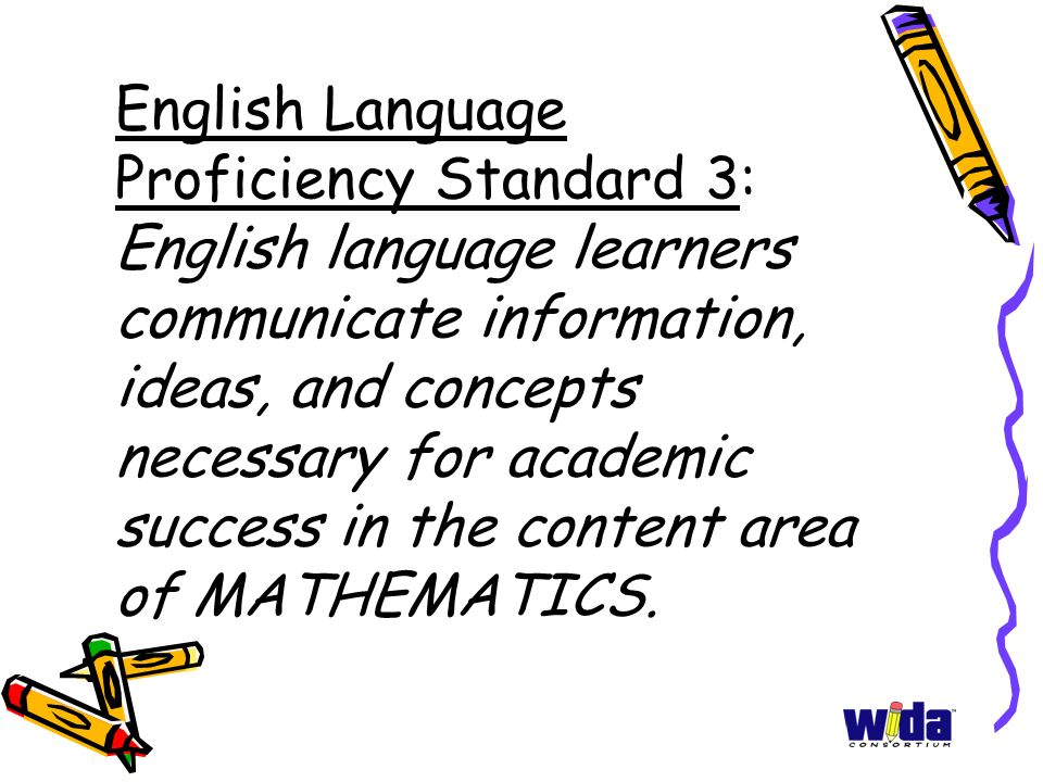 English Language Proficiency Standard 3: English language learners communicate information, ideas, and concepts necessary for academic success in the content area of MATHEMATICS.