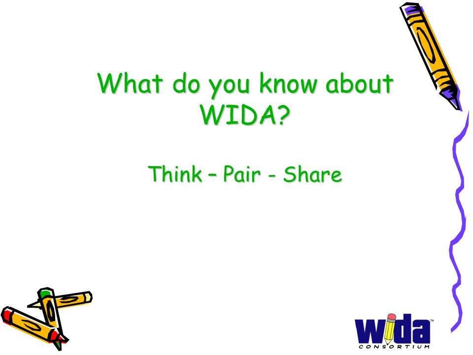 What do you know about WIDA Think – Pair - Share
