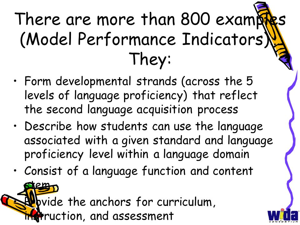 There are more than 800 examples (Model Performance Indicators)… They: