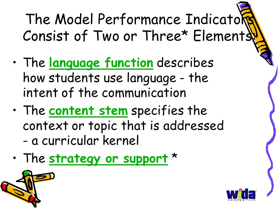 The Model Performance Indicators Consist of Two or Three* Elements: