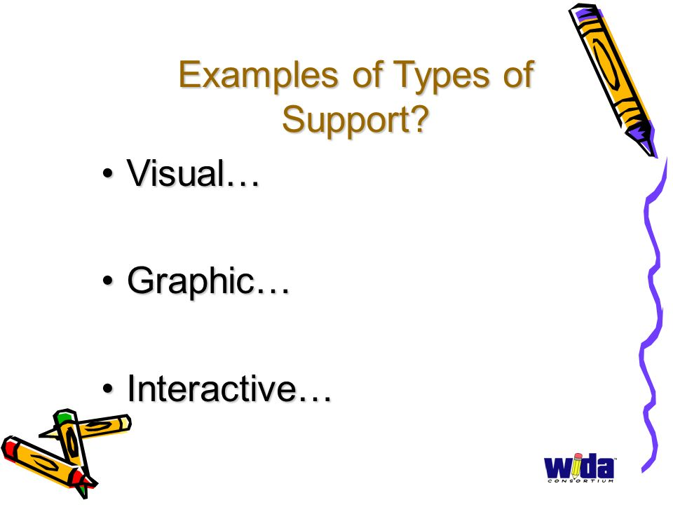 Examples of Types of Support