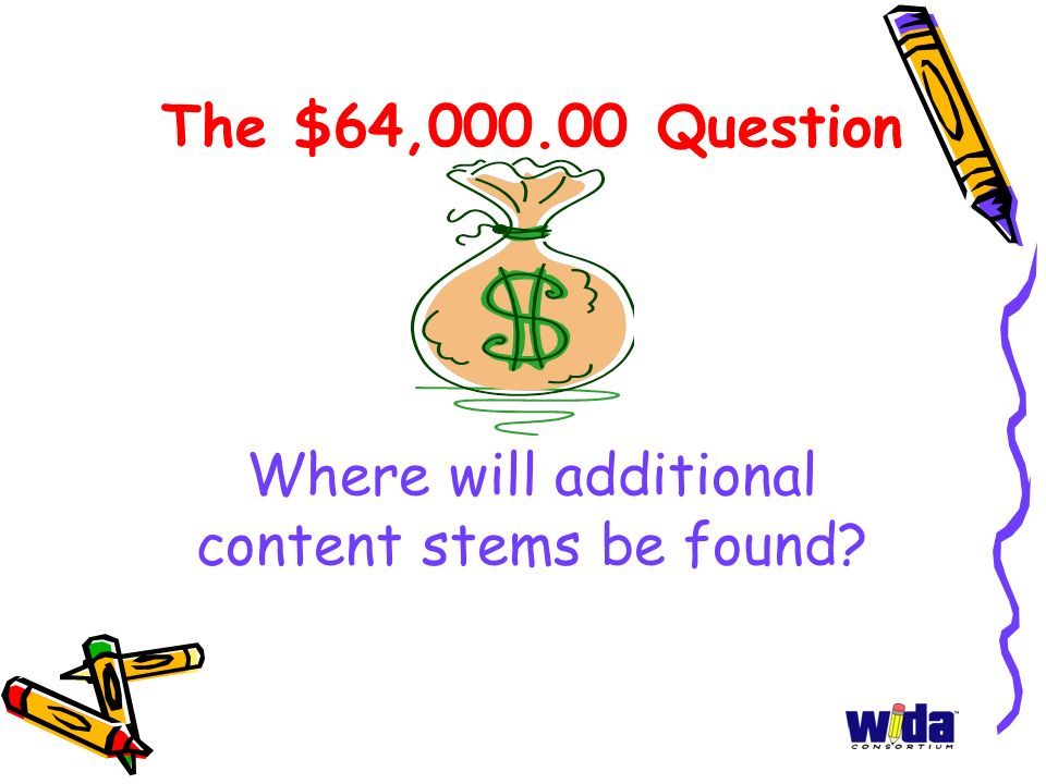 The $64,000.00 Question Where will additional content stems be found