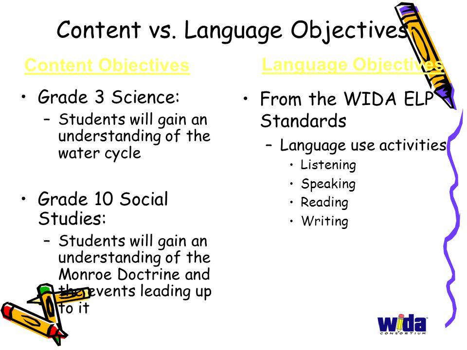 Content vs. Language Objectives