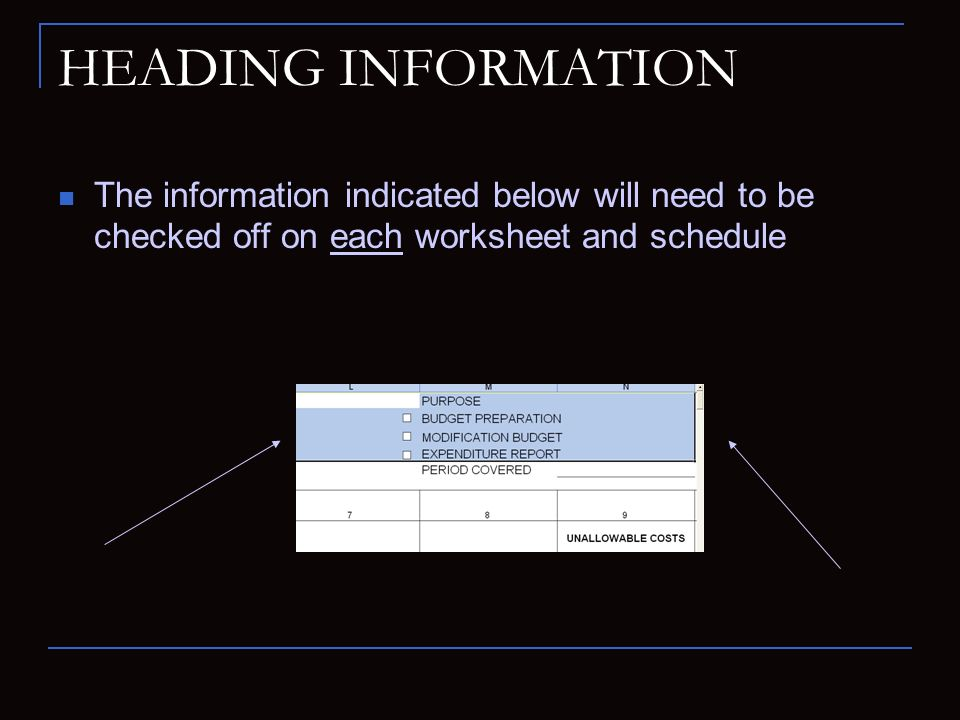 HEADING INFORMATION The information indicated below will need to be checked off on each worksheet and schedule.