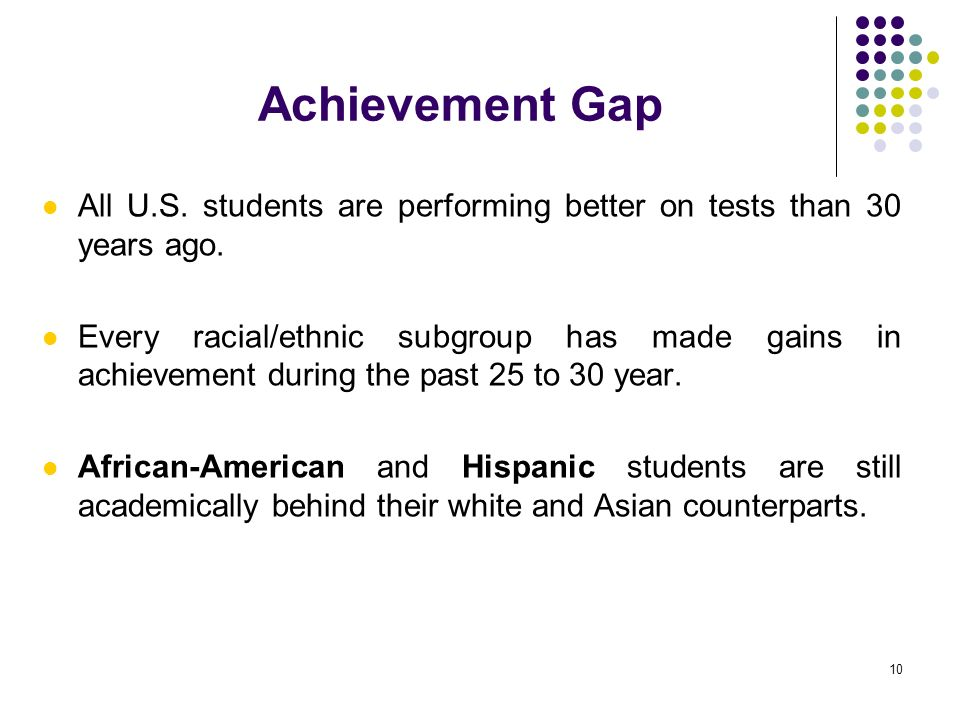 Achievement Gap All U.S. students are performing better on tests than 30 years ago.