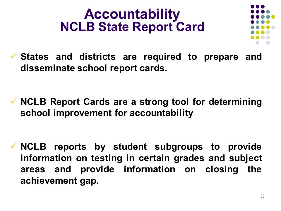 Accountability NCLB State Report Card
