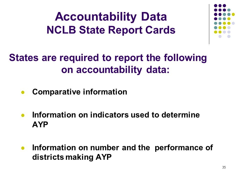 Accountability Data NCLB State Report Cards
