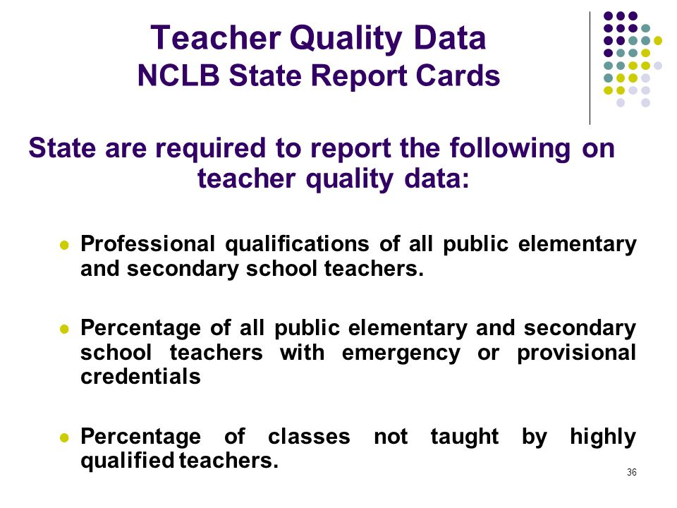 Teacher Quality Data NCLB State Report Cards