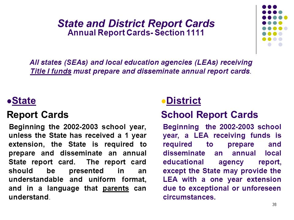 State and District Report Cards Annual Report Cards- Section 1111