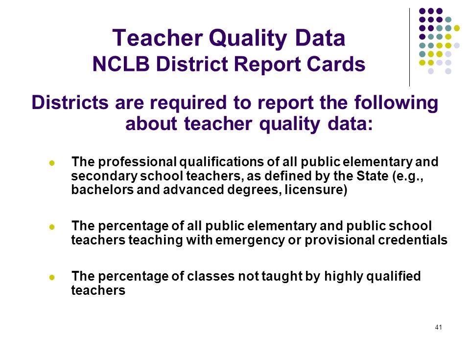 Teacher Quality Data NCLB District Report Cards