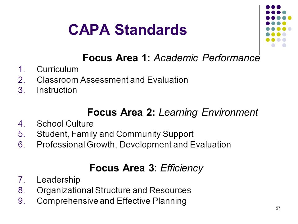CAPA Standards Focus Area 1: Academic Performance
