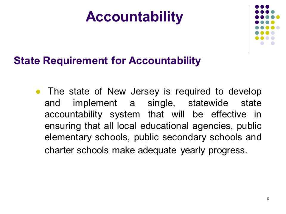 Accountability State Requirement for Accountability
