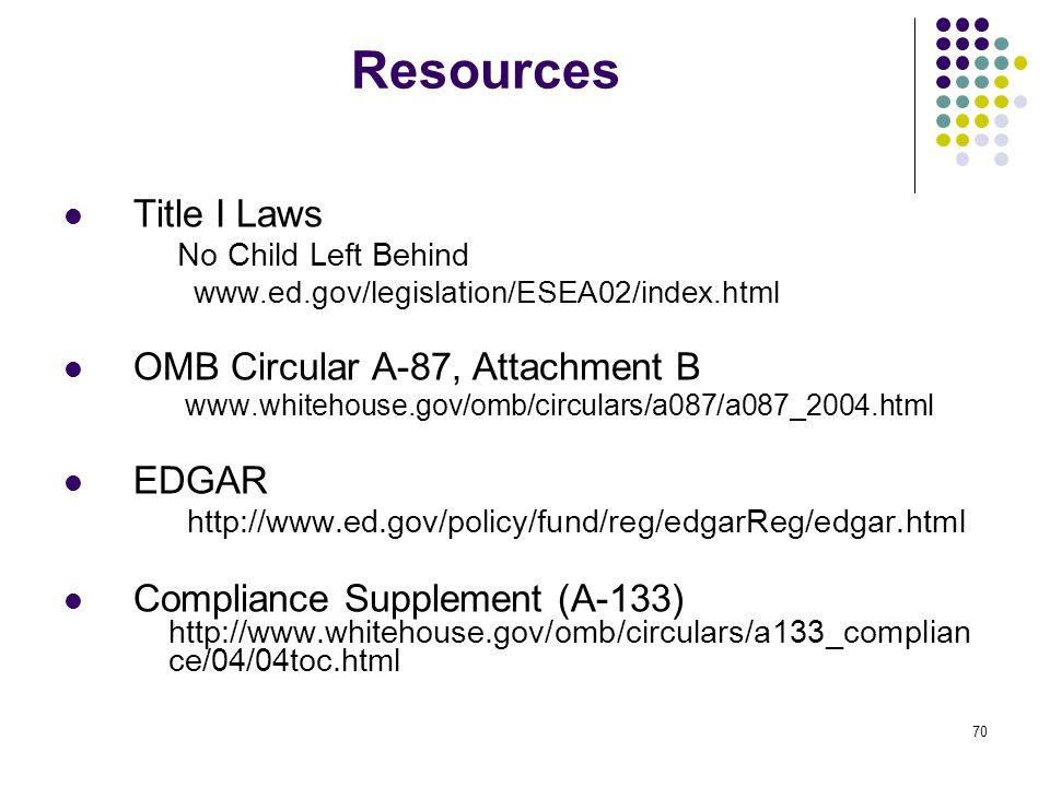 Resources Title I Laws OMB Circular A-87, Attachment B EDGAR