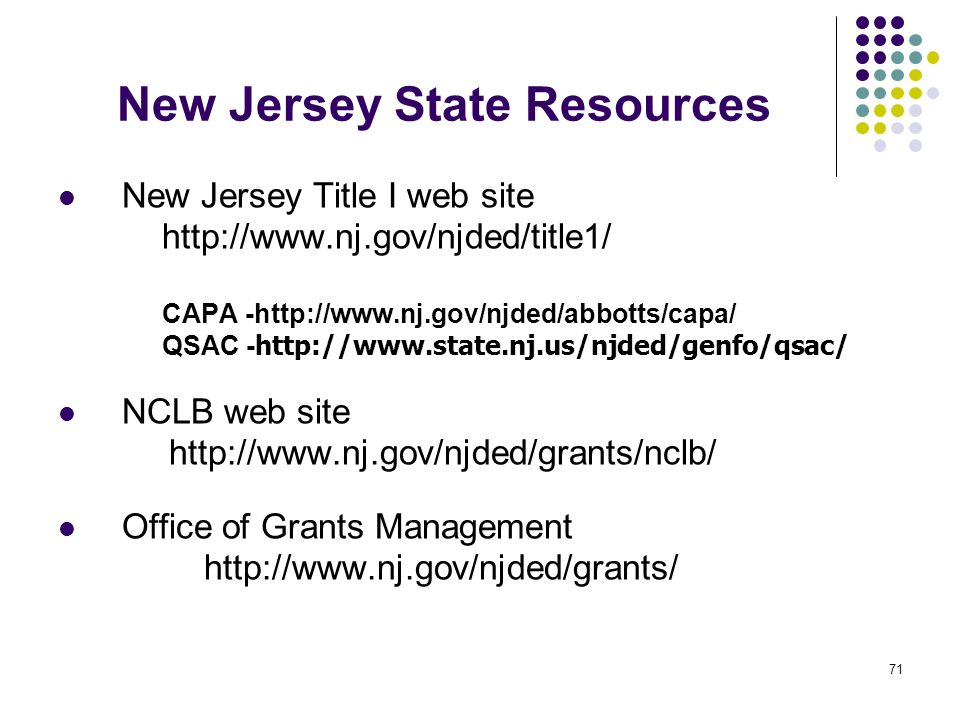 New Jersey State Resources