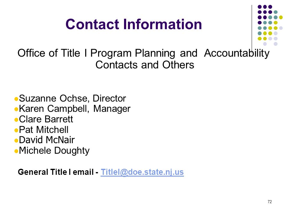 Office of Title I Program Planning and Accountability