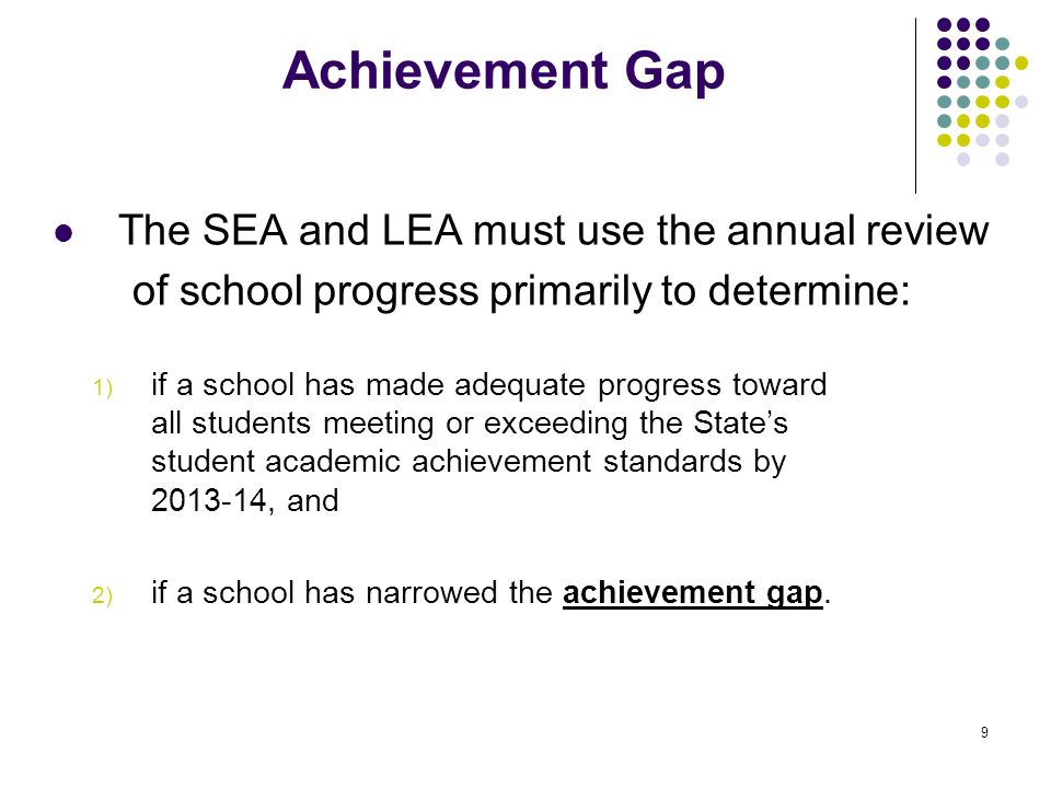 Achievement Gap The SEA and LEA must use the annual review