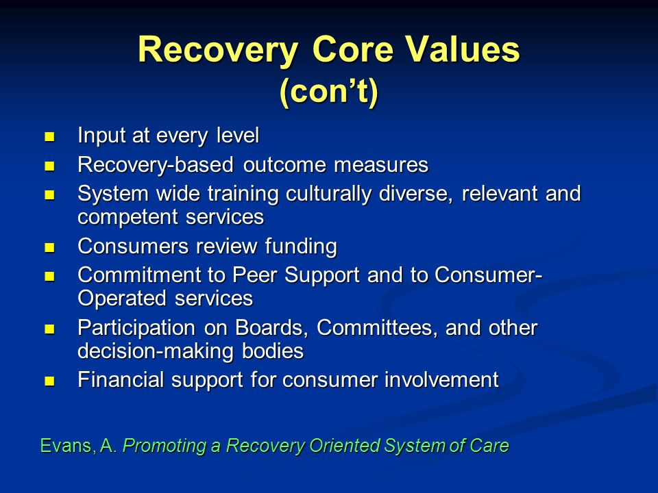 Recovery Core Values (con't)