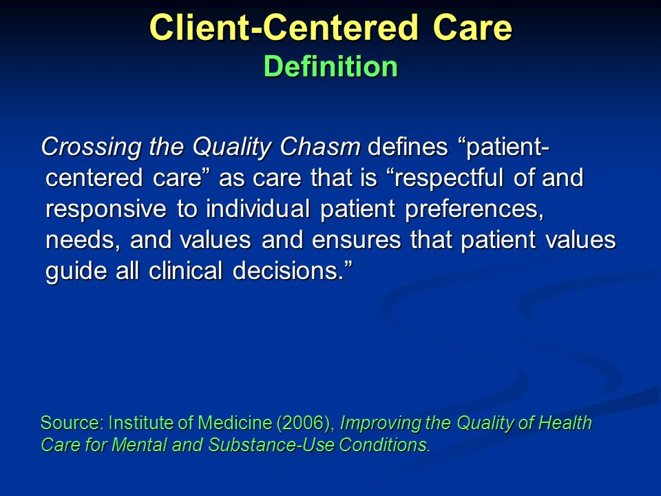 Client-Centered Care Definition