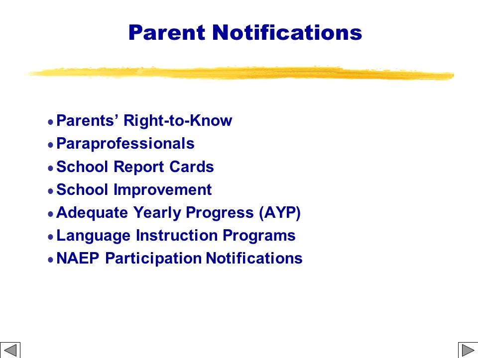 Parent Notifications Parents' Right-to-Know Paraprofessionals