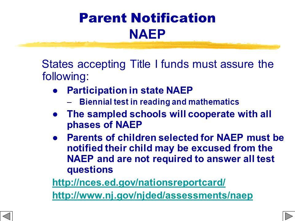 Parent Notification NAEP