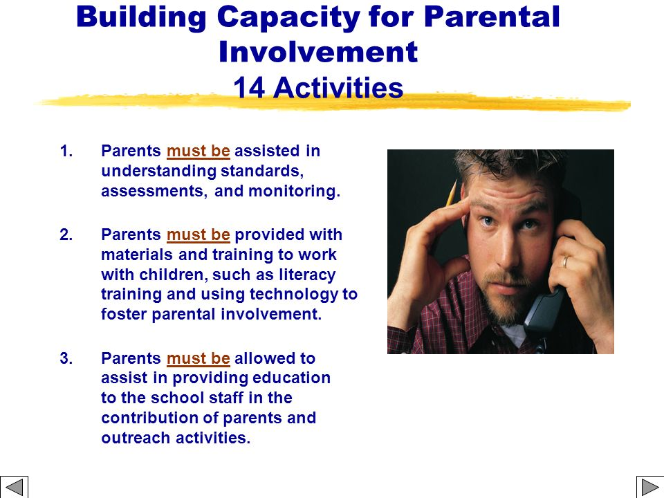 Building Capacity for Parental Involvement 14 Activities