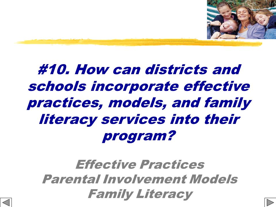 Effective Practices Parental Involvement Models Family Literacy