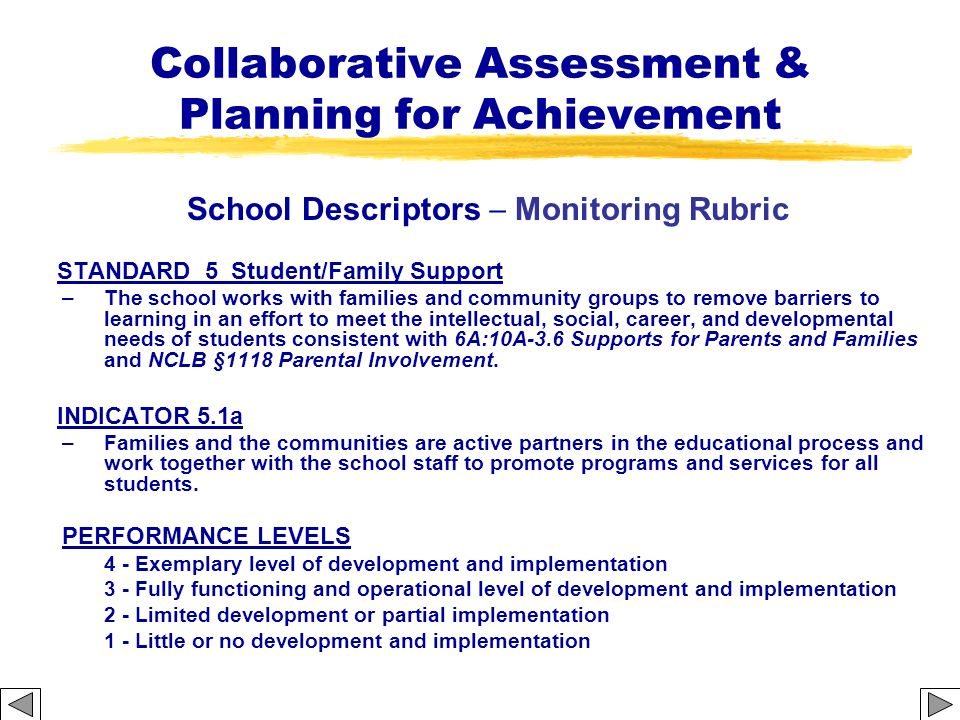 Collaborative Assessment & Planning for Achievement