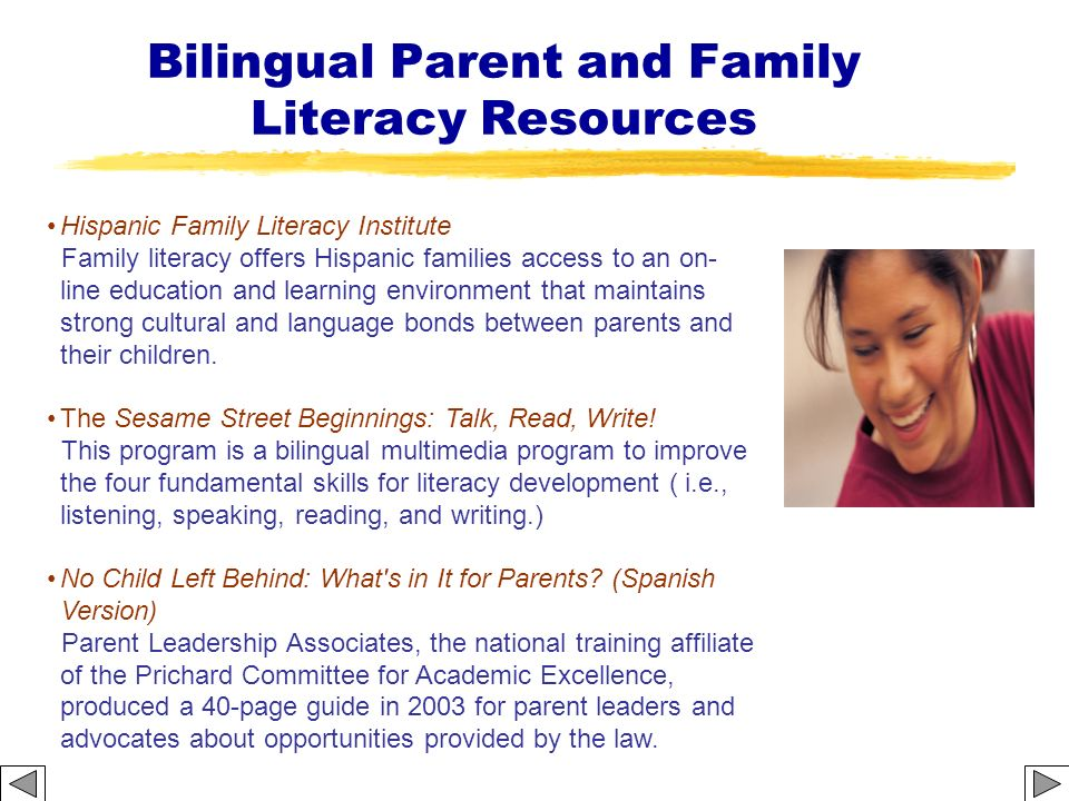 Bilingual Parent and Family Literacy Resources