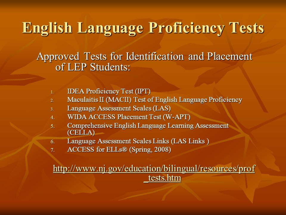 English Language Proficiency Tests