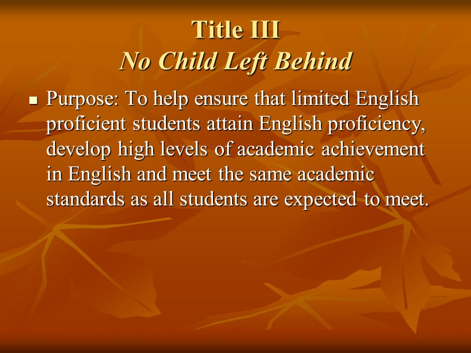 Title III No Child Left Behind