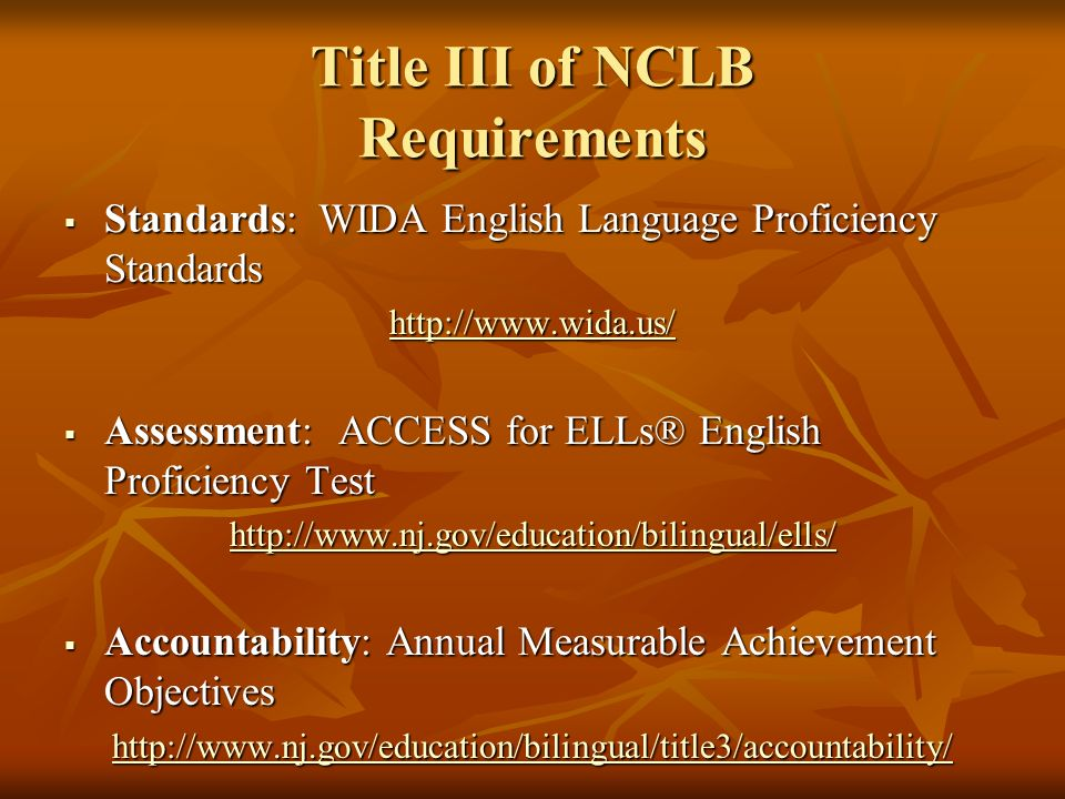 Title III of NCLB Requirements