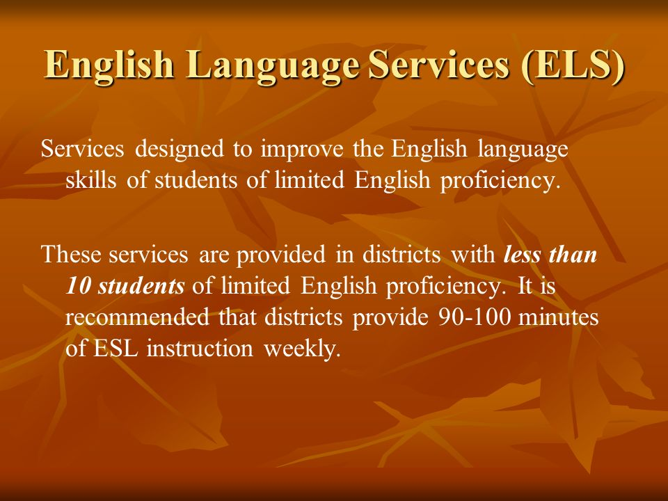 English Language Services (ELS)