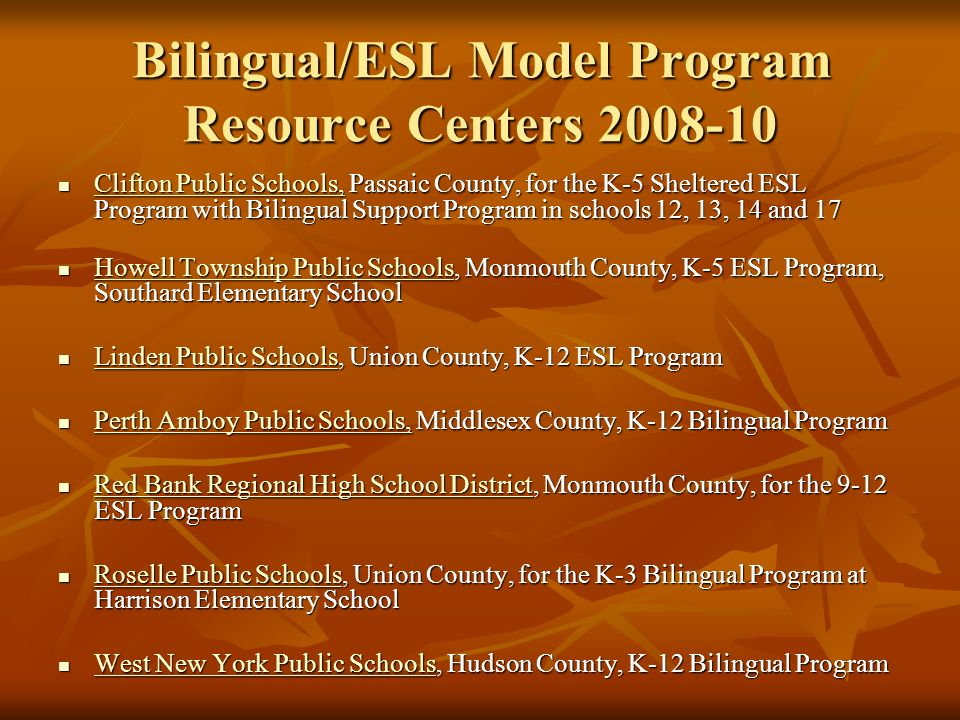 Bilingual/ESL Model Program Resource Centers 2008-10