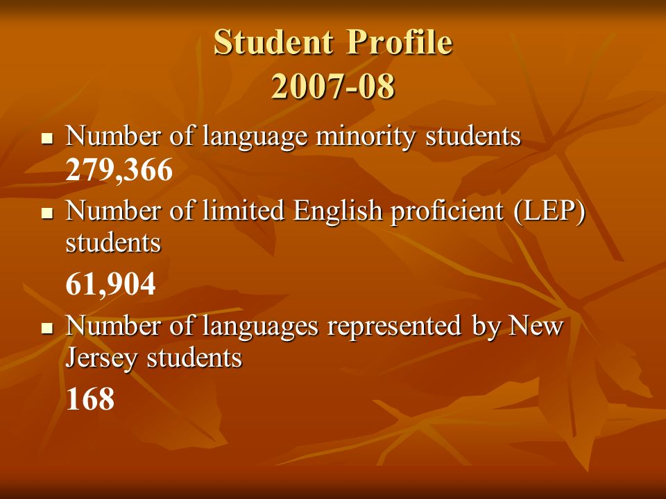 Student Profile 2007-08 Number of language minority students 279,366. Number of limited English proficient (LEP) students.