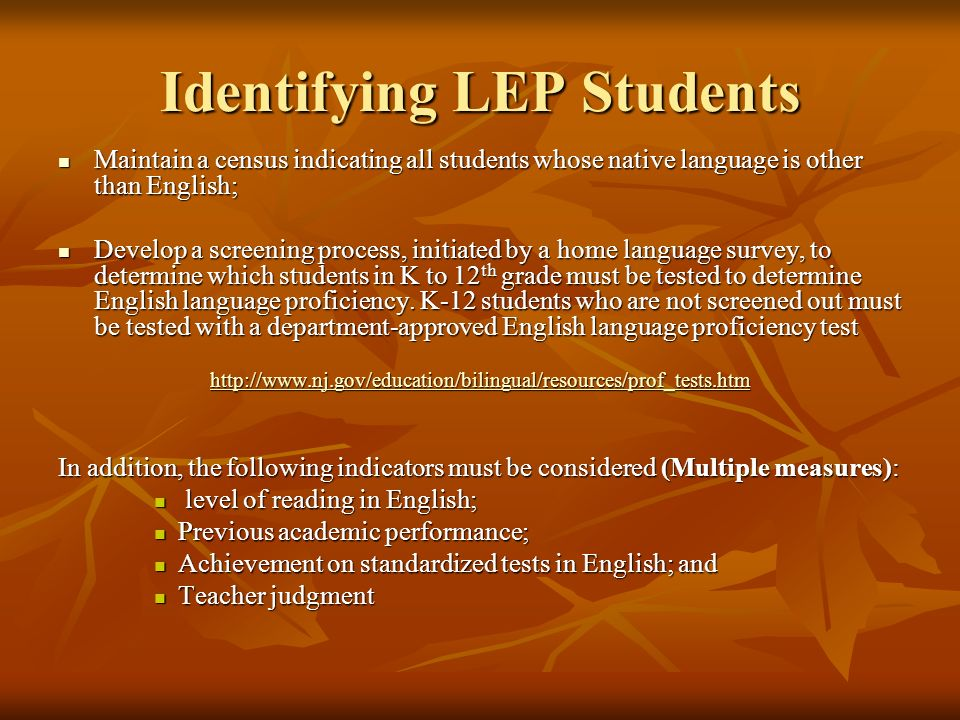 Identifying LEP Students
