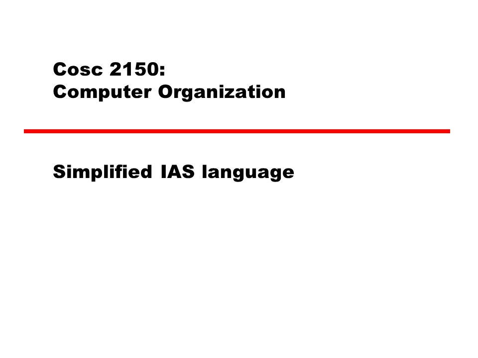 cosc 2150  computer organization