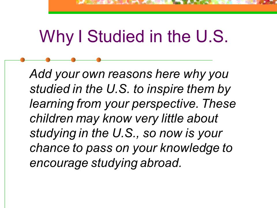 Why I Studied in the U.S.