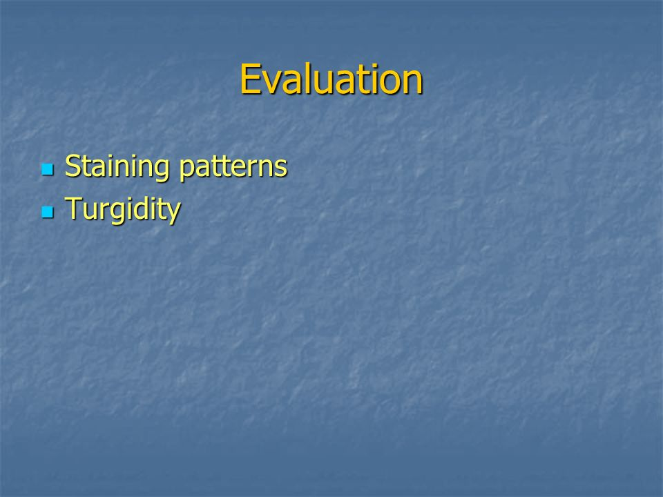 Evaluation Staining patterns Turgidity