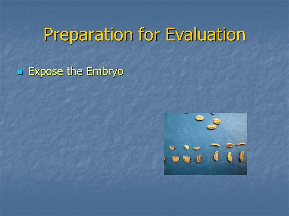 Preparation for Evaluation