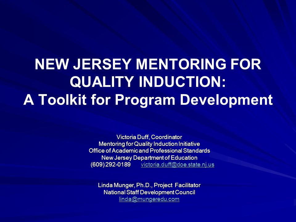 NEW JERSEY MENTORING FOR QUALITY INDUCTION: A Toolkit for Program Development