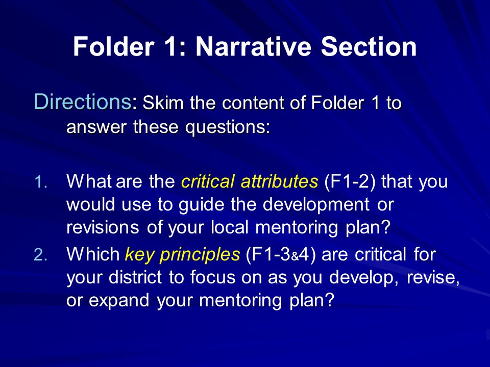 Folder 1: Narrative Section